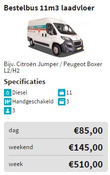 prijzen auto verhuur bestelbus 11 laadvloer